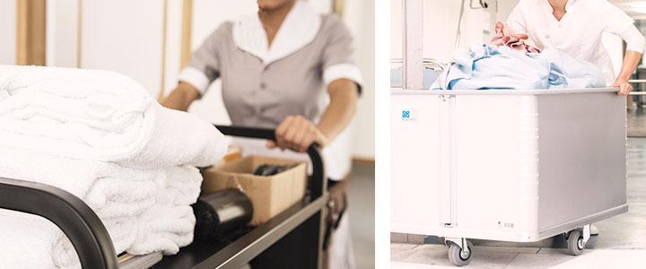 Carros de lavandería industrial y hoteles